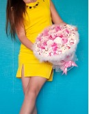 Плюшевый букет Розовый с белыми цветами