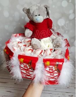 Кит кат коробочка в виде сердца с мишкой