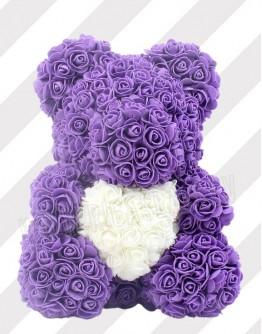 Фиолетовый мишка из роз 38 см