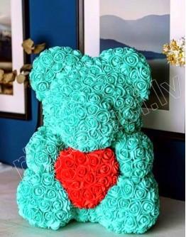 """Мишка """"Тиффани"""" из искусственных роз из фоамирана 38 см"""