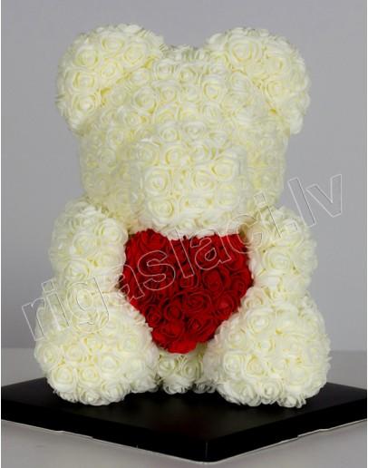 Мишка из роз Кремовый 38 см из искусственных роз