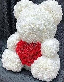 Мишка из искусственных роз белый 35 см  (не мягкий)